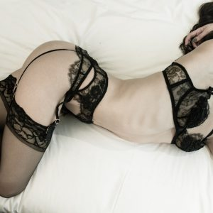 Kinky girlfriend Louisa Knight in black lace lingerie in bed