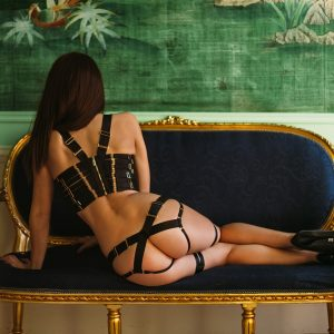 escort Louisa Knight in kinky Bordelle harness lingerie