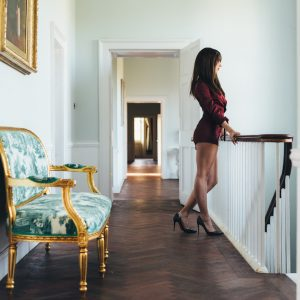 London independent escort Louisa Knight in short dress and high heels
